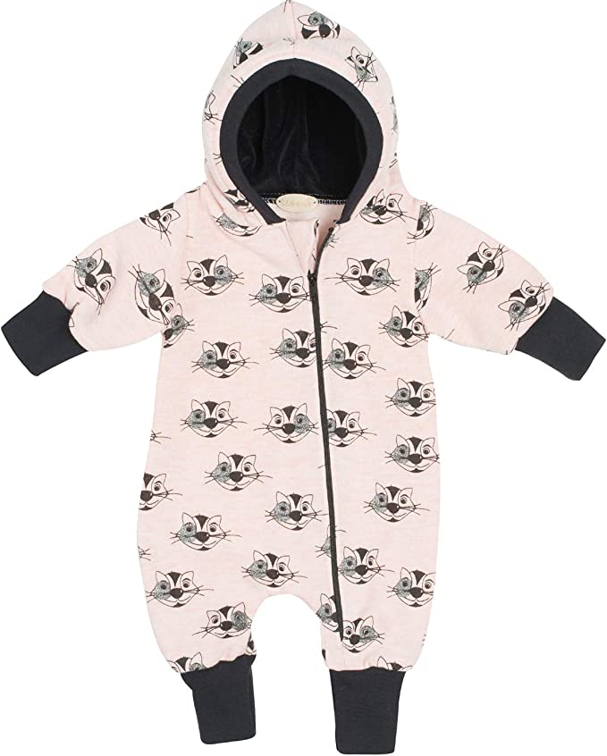 """56//62-116//122 Lilakind/"""" Baby Overall Einteiler mit Kapuze Walkloden Grau meliert rosa Gr Made in Germany"""
