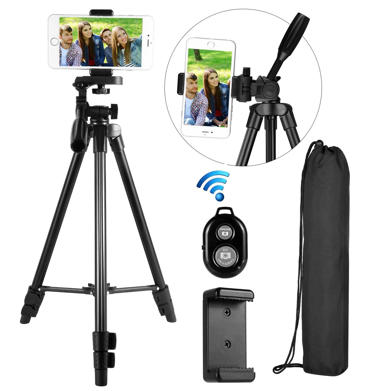 Phone Smartphone Cellphone Stand Tripod,37-inch Lightweight Aluminum Tripod for Phone, Video Camera Tipod,Wireless Remote + Cellphone Holder Mount +Carrying Bag Compatible with iPhone, Samsung, etc