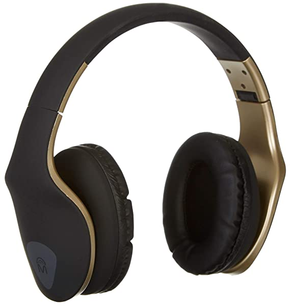 Mental Beats 61859 Xpert Pro Headphones with Mic, Gold Headsets at amazon