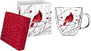 Cypress Home Beautiful Cardinal on Branch Double Wall Glass Café Cup with Matching Box - 5 x 4 x 5 Inches Indoor/Outdoor home goods For Kitchens, Parties and Homes