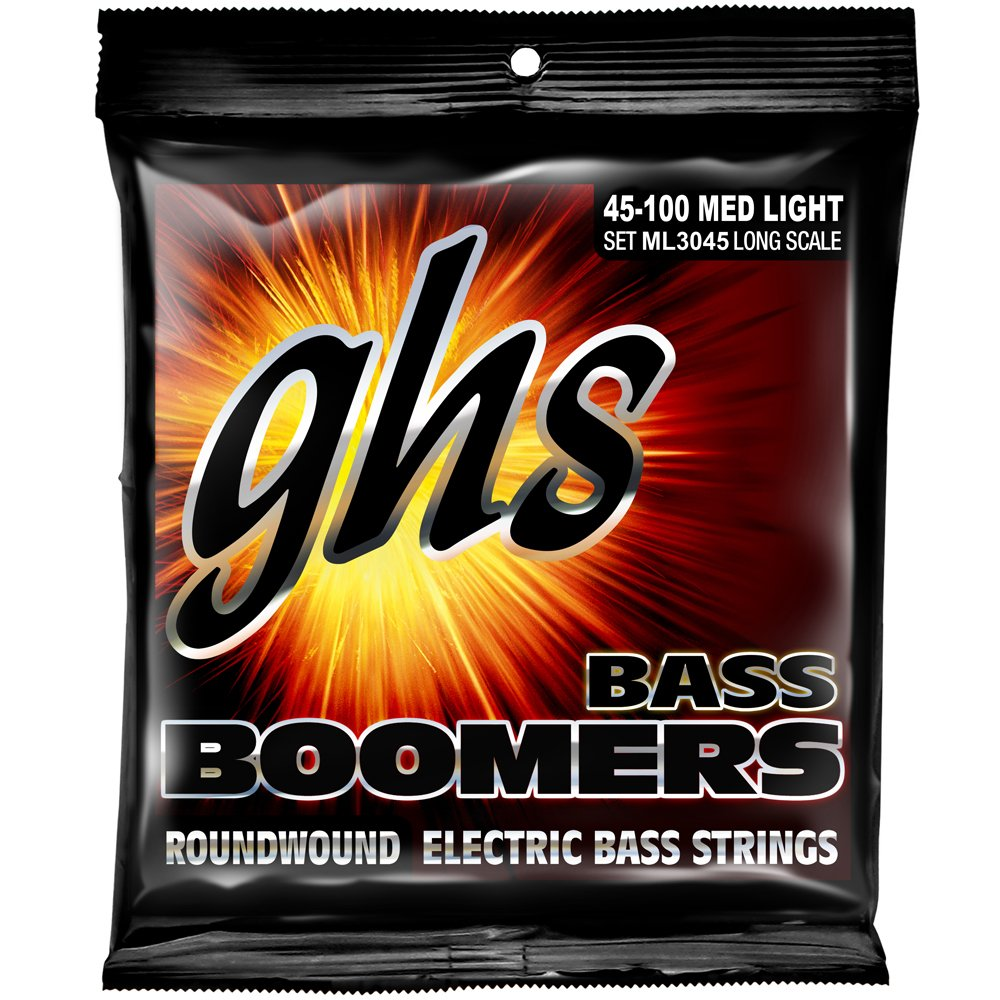 GHS Strings M3045 4-String Bass Boomers, Nickel-Plated Electric Bass Strings, Long Scale, Medium (.045-.105) GHS Corporation