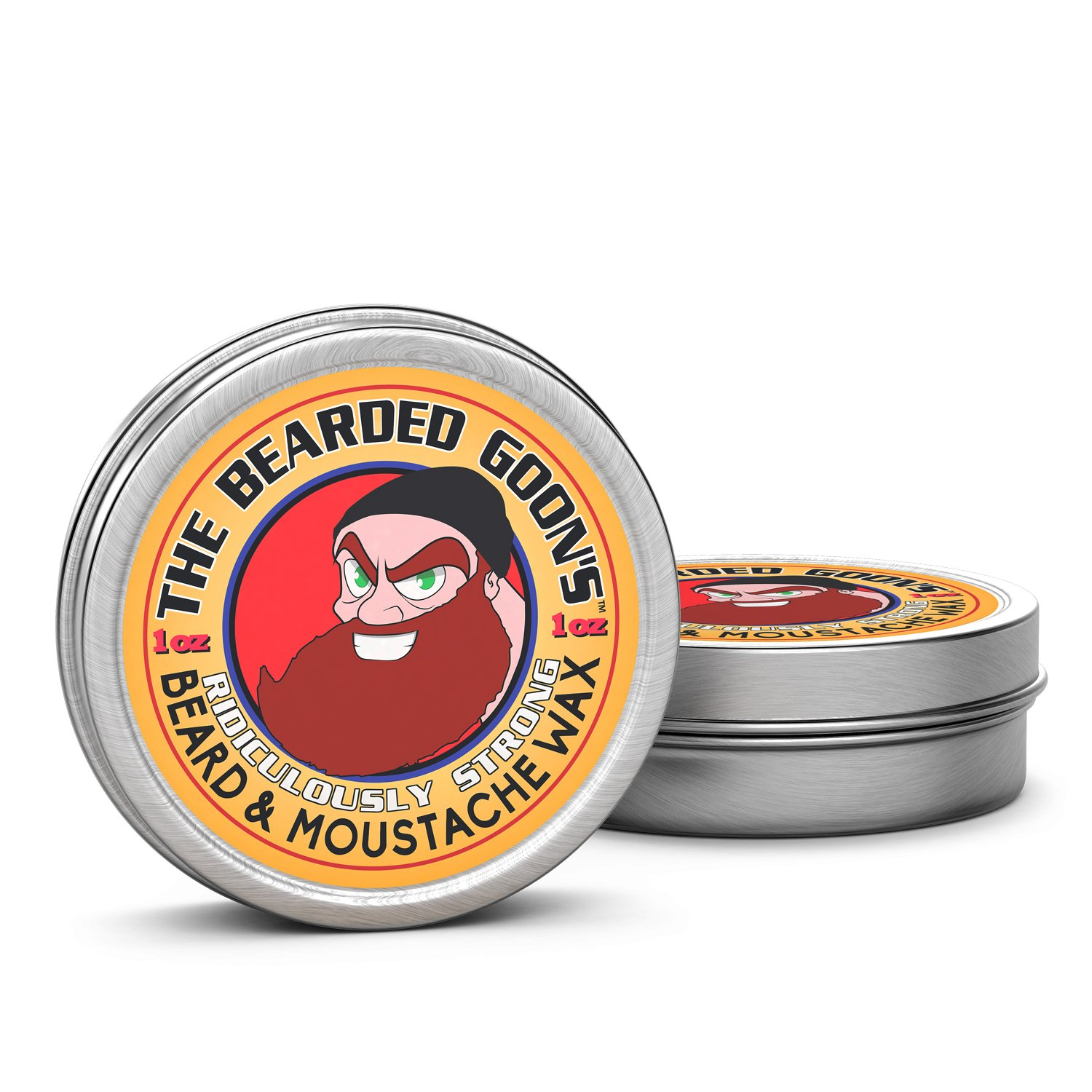 The Bearded Goon's Mustache and Beard Wax - 100% Natural, Ridiculously Strong, All-Day Styling Control with Ultra-Strong Hold, Mild Scent, Free of Chemicals, Alcohol and Parabens, 1 oz., 2 Tins