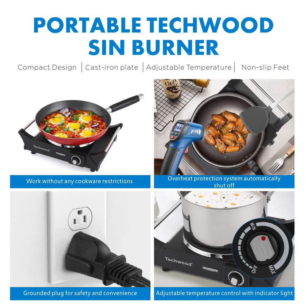 Techwood Hot Plate Electric Single Burner Portable Burner, 1500W with Adjustable Temperature, Stay CoolHandles, Non-Slip Rubber Feet, Black Stainless Steel Easy To Clean, Upgraded Version ES-3103 by Techwood (Image #4)