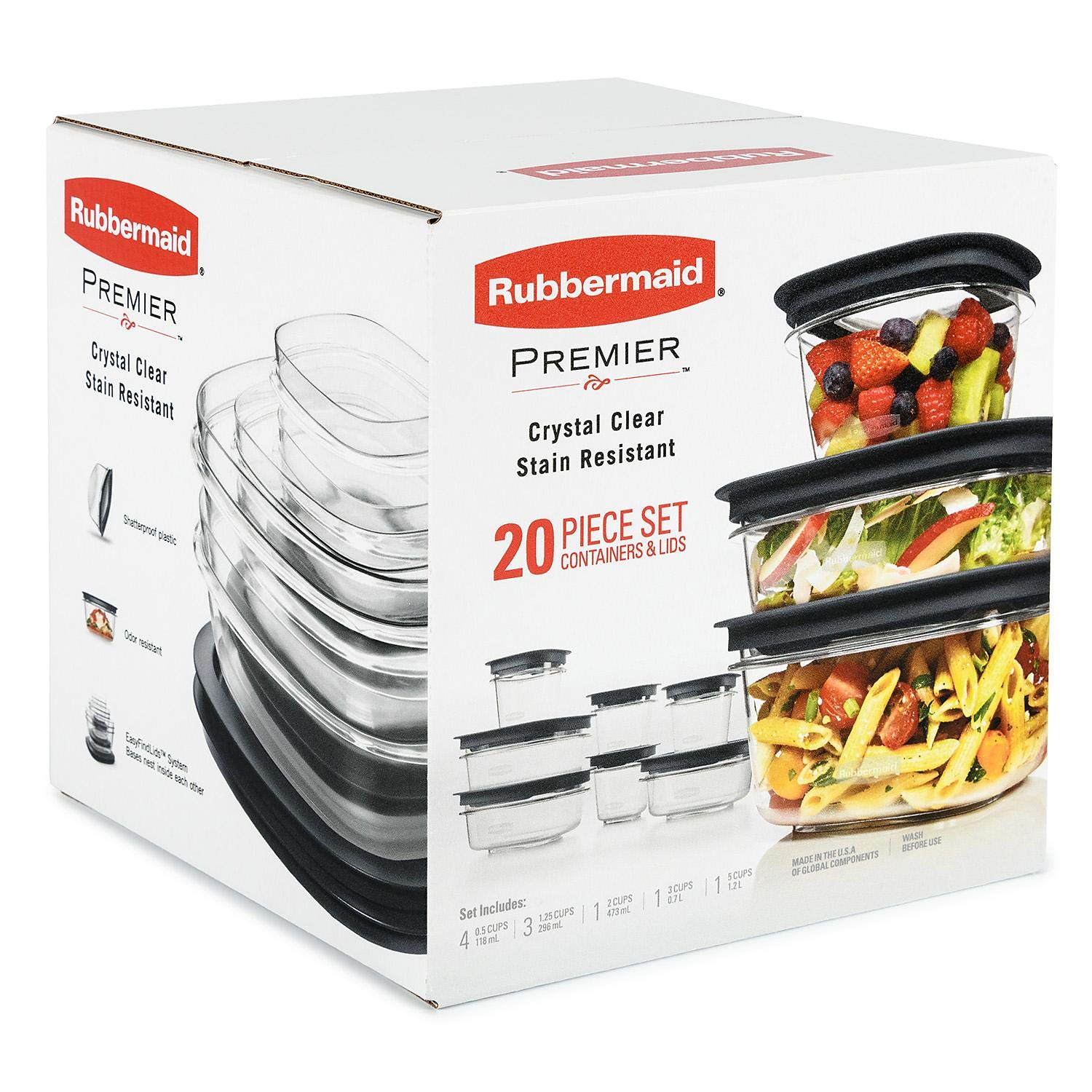 Rubbermaid Premier Crystal Clear Stain Resistant 20 Piece Set Grey Lids