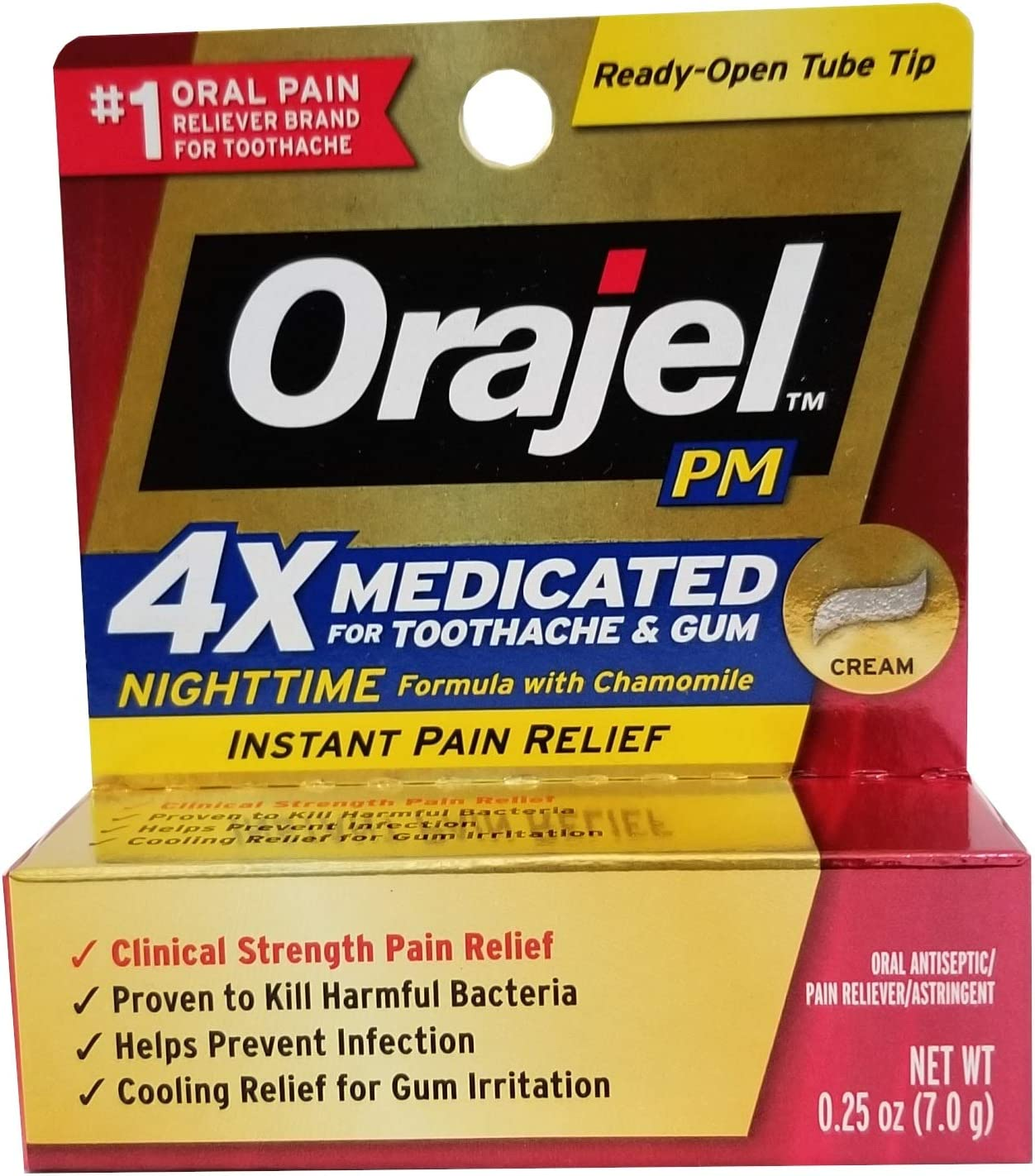 Orajel Maximum Strength Nighttime Toothache Pain Relief Cream - 0.25 Oz: Health & Personal Care