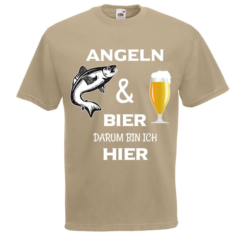 Cooles Angel Fun T-Shirt Angeln und Bier bedruckt Angler  Fischen Fishing Hemden & T-Shirts