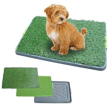 Inodoro De Bandeja para Perros Césped Artificial, 3 Capas Puppy Potty Pad Training, Fácil