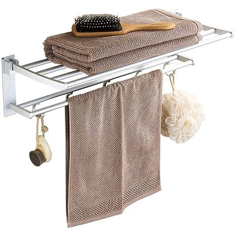 Toallero sin Costuras Estantería para baño Estantería para Toallas Plegable para baño de Aluminio (Tamaño