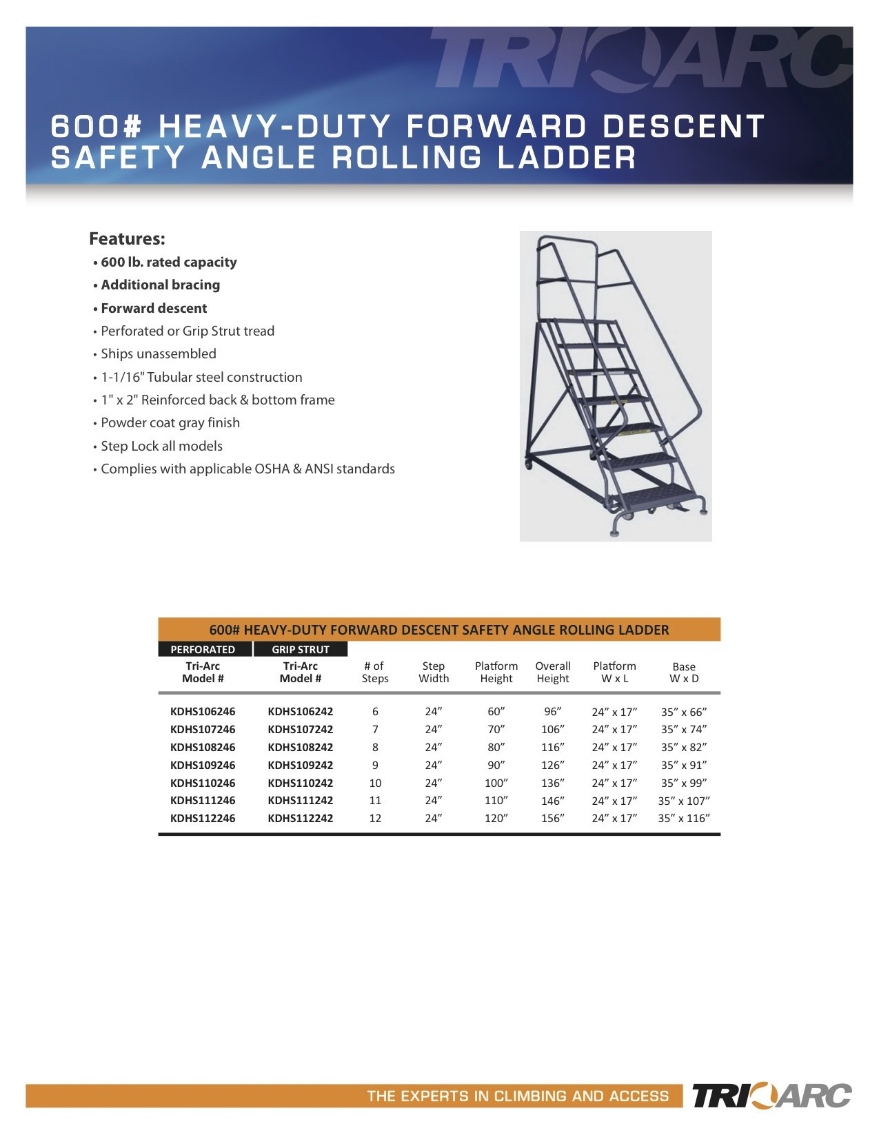 Tri-Arc KDHS106242 6-Step Heavy-Duty Safety Angle Steel Rolling Industrial & Warehouse Ladder with Grip Strut Tread