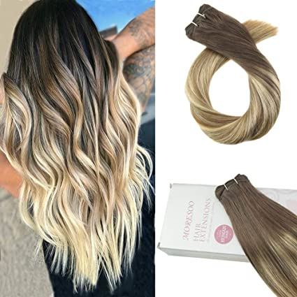 Moresoo 14 Pulgadas Hair Weave Extensiones Cabello Humano Balayage Color #10 Fading to #19 and #24 Pelo Natural 100% Sew in Weave Human Hair ...