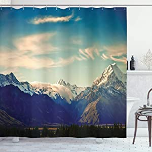 """Ambesonne Apartment Decor Collection, New Zealand Scenic Mountain Shot at Mount Cook National Park Alpine Panorama Picture, Polyester Fabric Bathroom Shower Curtain, 84"""" Long Extra, Navy Blue"""
