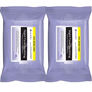 Epielle Night-Time Soothing Facial Makeup Remover Cleansing Tissues Wipes Towelettes - 30ct (Sheets) per pack, Total 2 packs-FBA