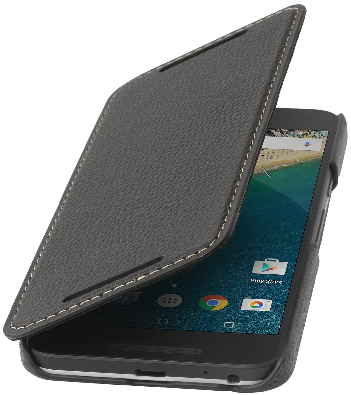 StilGut Book Type, Funda de Cuero para Google Nexus 5X, Negro