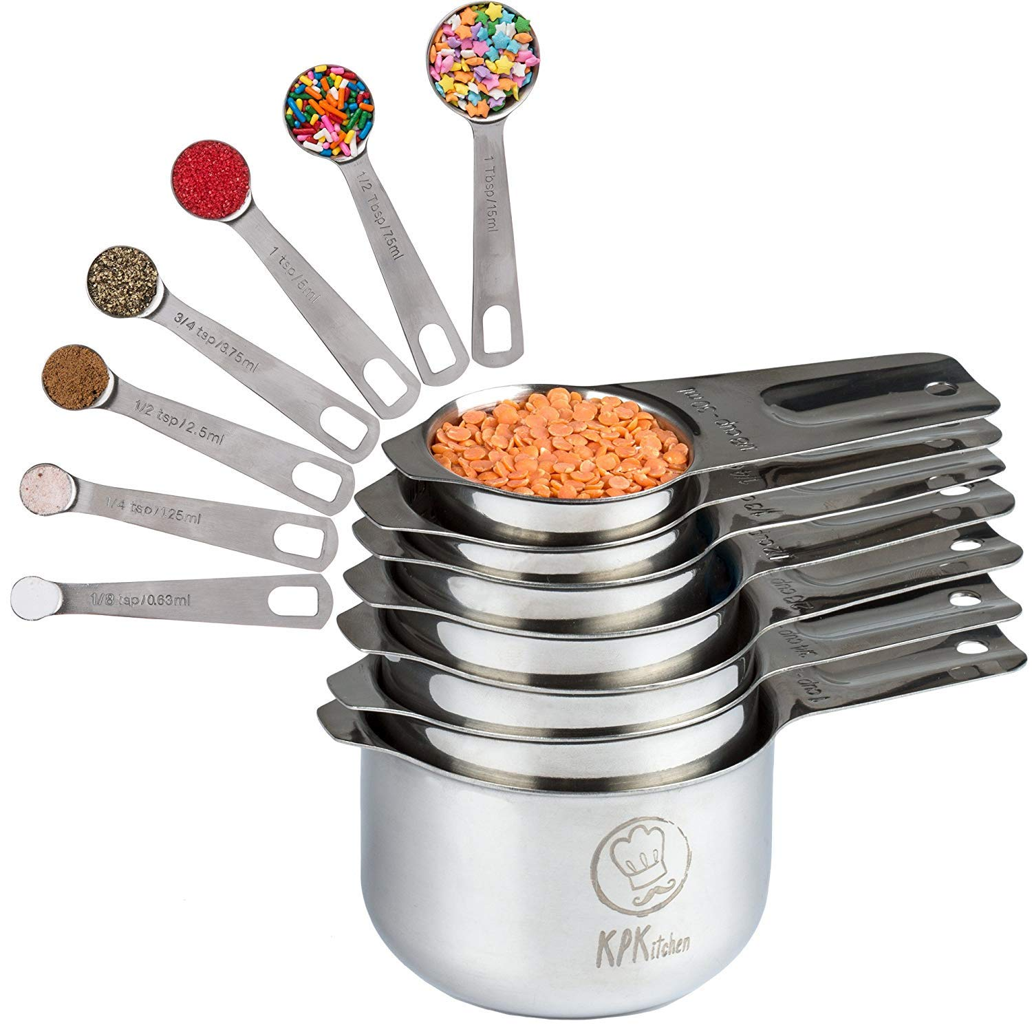 Stainless Steel Measuring Cups and Spoons Set: 7 Cup and 7 Spoon Metal Sets of 14 for Dry Measurement - Home Kitchen Gadget, Tool & Utensils for Cooking & Baking - Perfect Wedding or Housewarming Gift by KPKitchen