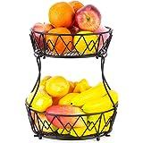 AiteFeir fruktvåningar 2 våningar, fruktskål metall med stativ för, dekorativ fruktförvaring, fruktkorg lämplig för kök…
