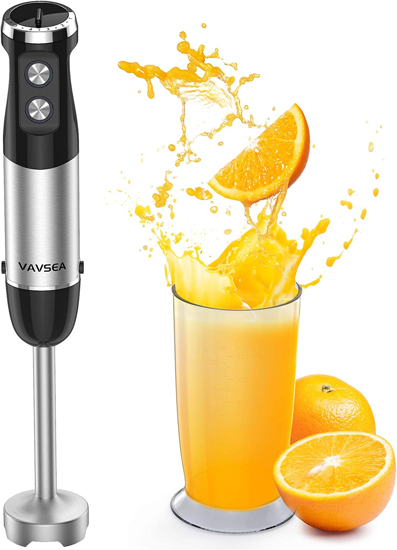 VAVSEA Batidora de mano de 600 W, Batidora de varilla de 6 velocidades con y vaso medidor, protección antisalpicaduras, mango antideslizante,Turbo