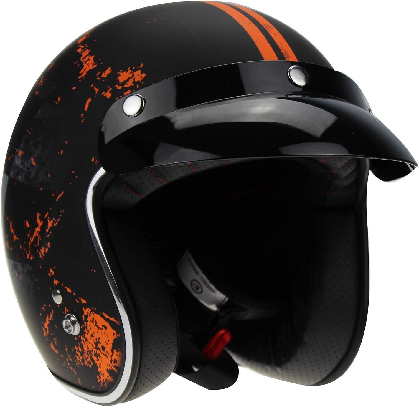 Viper rs-05/Slim Skinny Fit Retro Custom Bobber Open Face Motorrad Helm
