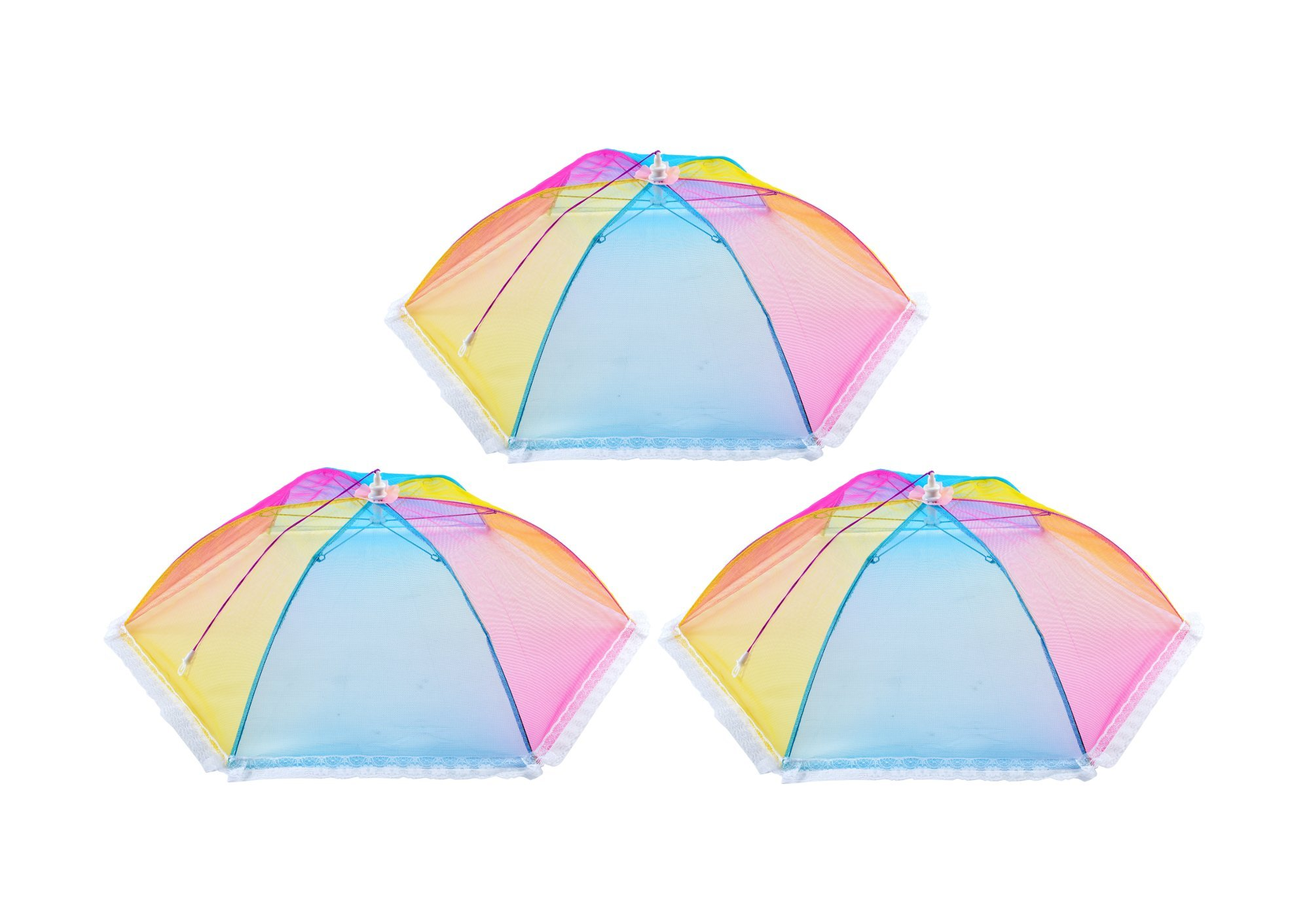 Opulic Mesh Screen Food Cover Tents Collapsible - Set of 3 Colorful Pop Up Hexagonal Dome, 24''Diameter 7''Tall, Suitable for Picnic Outdoor or Indoor on the Table, Umbrella Net Keeps Out Flies and Bugs