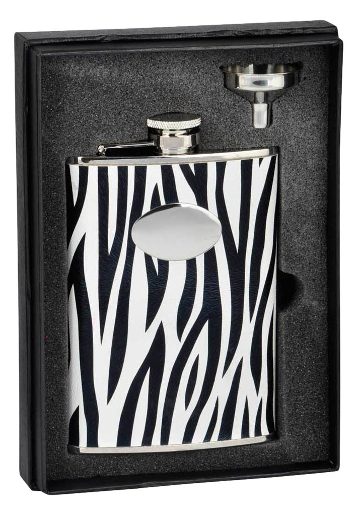 Buy Visol Holiday Essential Ii Zebra Black White Leather Liquor Flask Gift Set 8 Oz Silver Online At Low Prices In India Amazon In