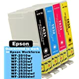 Compatible Epson 16XL Pen Ink Cartridges: 4-Pack of Compatible T1636 Inks for the Epson Workforce WF-2010w, WF-2510wf, WF-2520nf, WF-2530wf, WF-2540wf, WF-2630wf, WF-2650dwf, WF-2660dwf