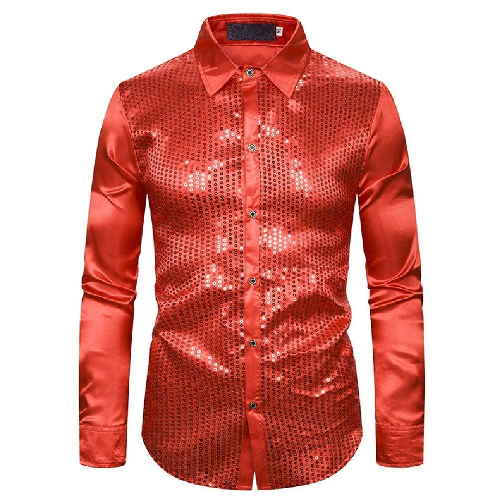 Energy Mens Satin Long-Sleeve Regular Turn Down Collar Clubwear Dress Shirt