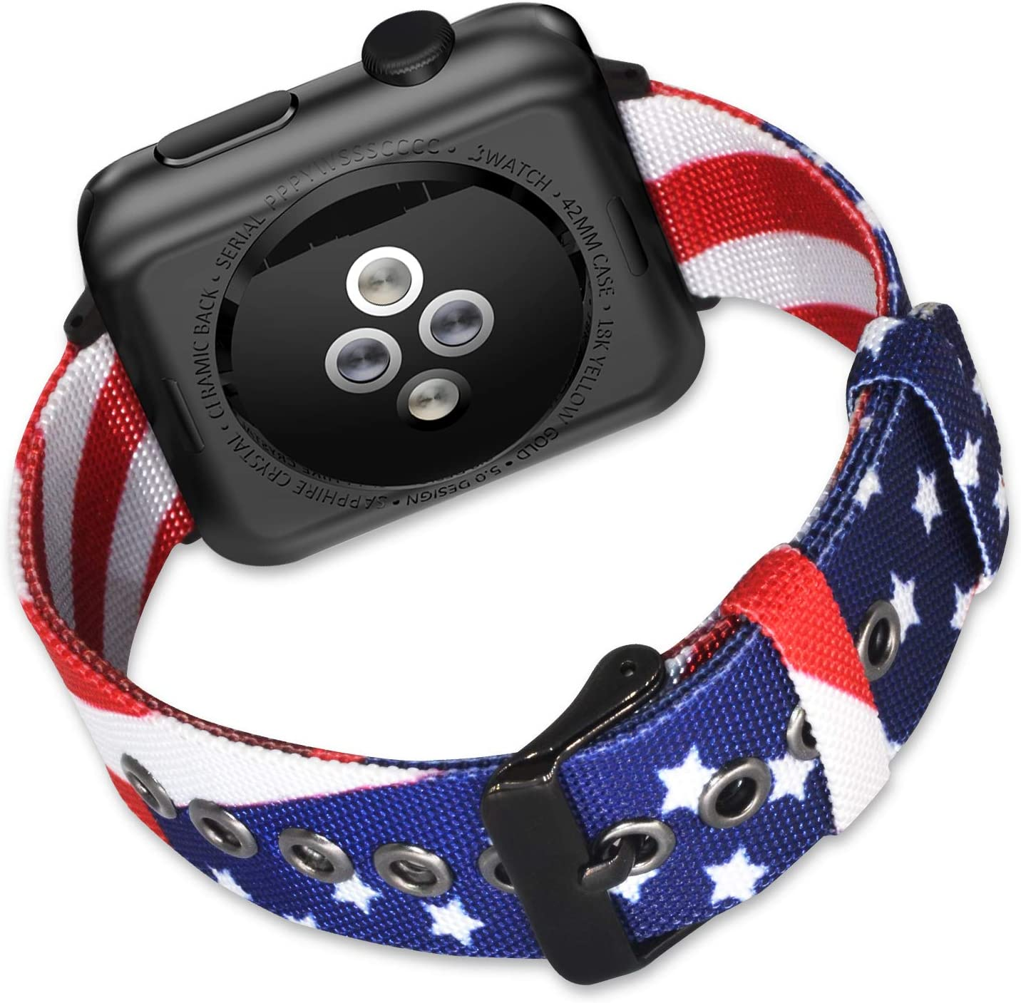 ALADRS American Flag Nylon Strap Compatible with Apple Watch Band 42mm 44mm USA Flag