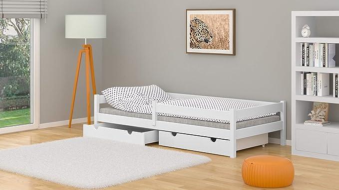 WNM Group Lara - Cama individual de madera maciza con cajones y somier (70 x 140 cm), color blanco