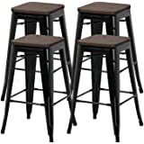 YAHEETECH 26inch barstools Set of 4 Counter Height Metal Bar Stools, Indoor Outdoor Stackable Bartool Industrial with Wood Se