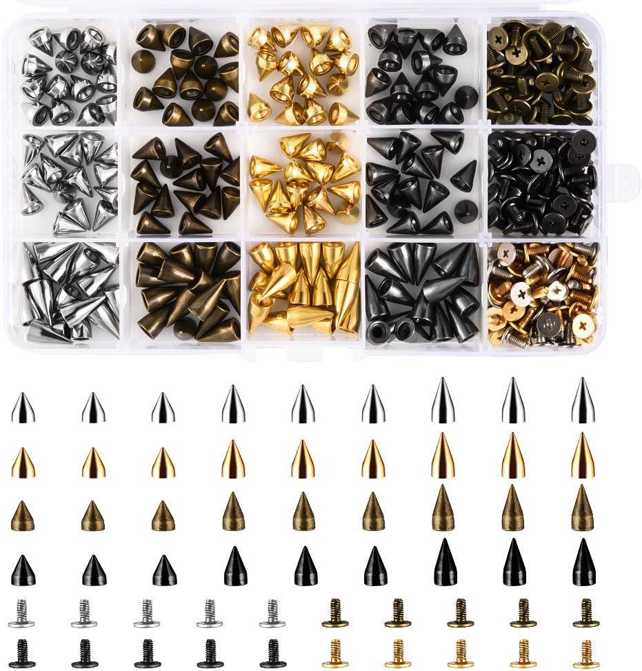 Jalan 360 Piezas Remaches de Cuero de aleación de Zinc Remaches Decorativos Punk artesanales DIY Ideal para Decorar Bolsos, Zapatos, Abrigos, Guantes, Pulseras - 4 Colores | 7 mm × 9/10/14 mm