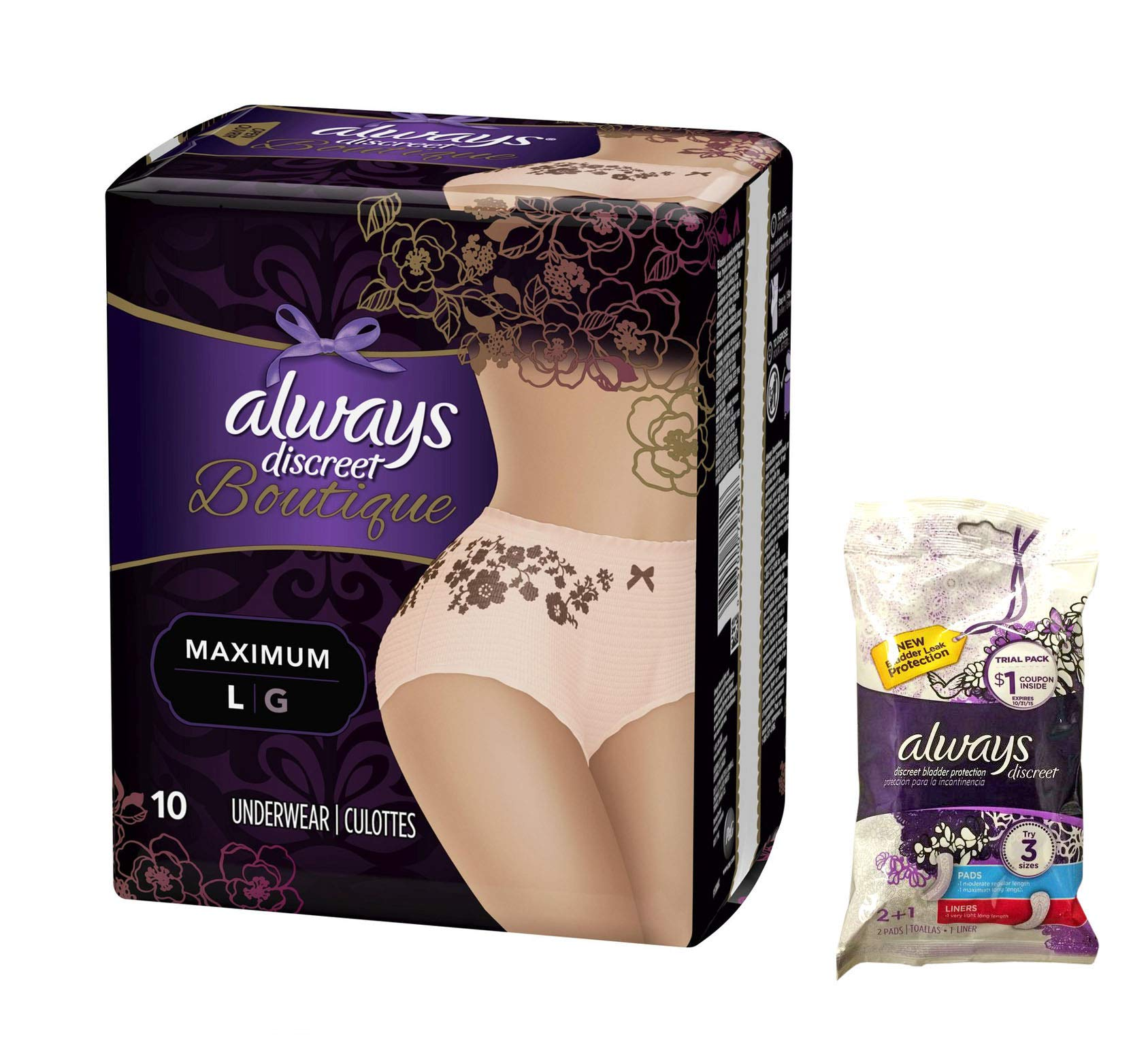 Always Discreet Boutique Incontinence Underwear & Pads - Maximum Protection L - 9 Disposable - Peach - Large - Trial Pack of Incontinence Pads Included