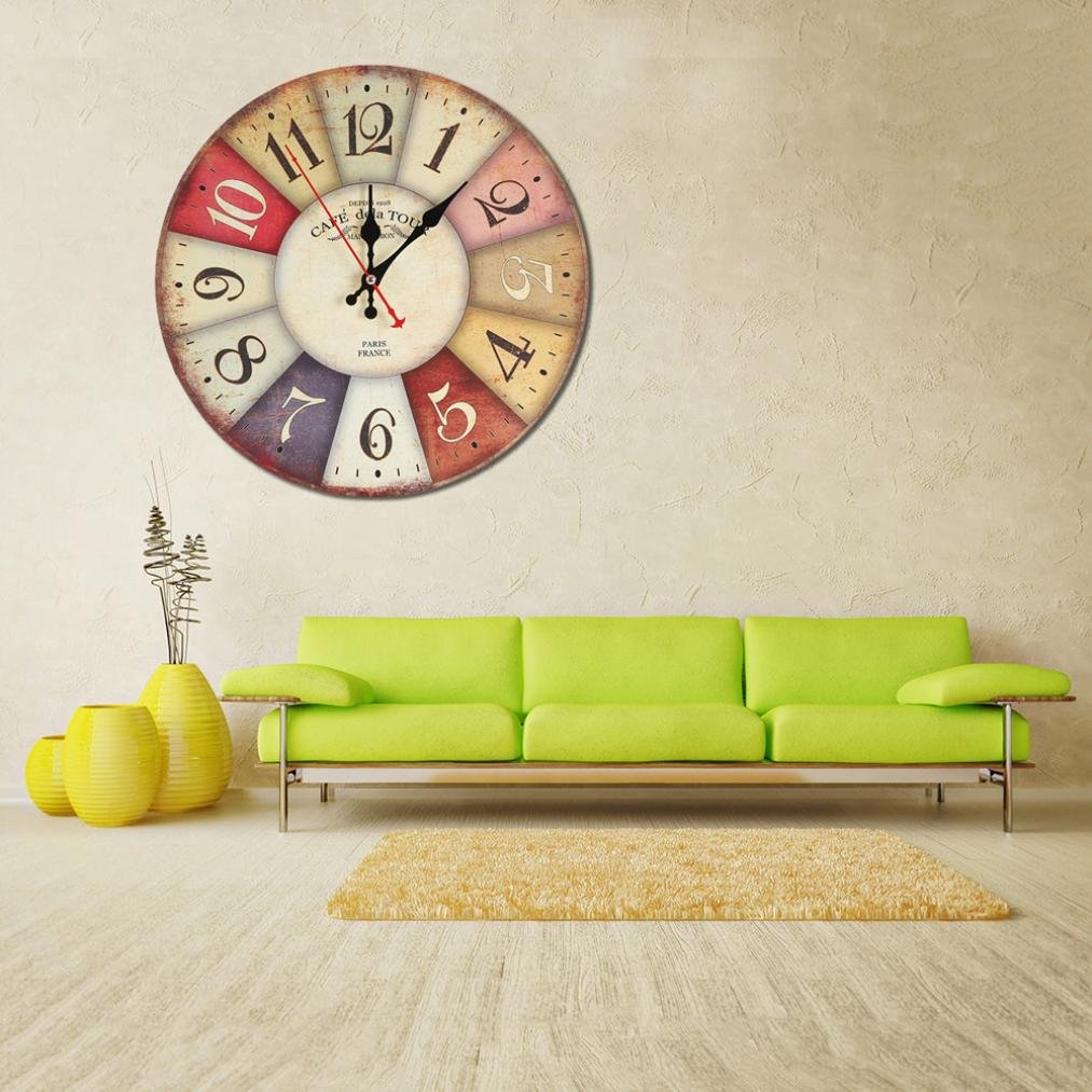 Amazon.com: DIGOOD Vintage Style Non-Ticking Silent Wood Wall Clock for Home Kitchen Office Decor (E): Arts, Crafts & Sewing