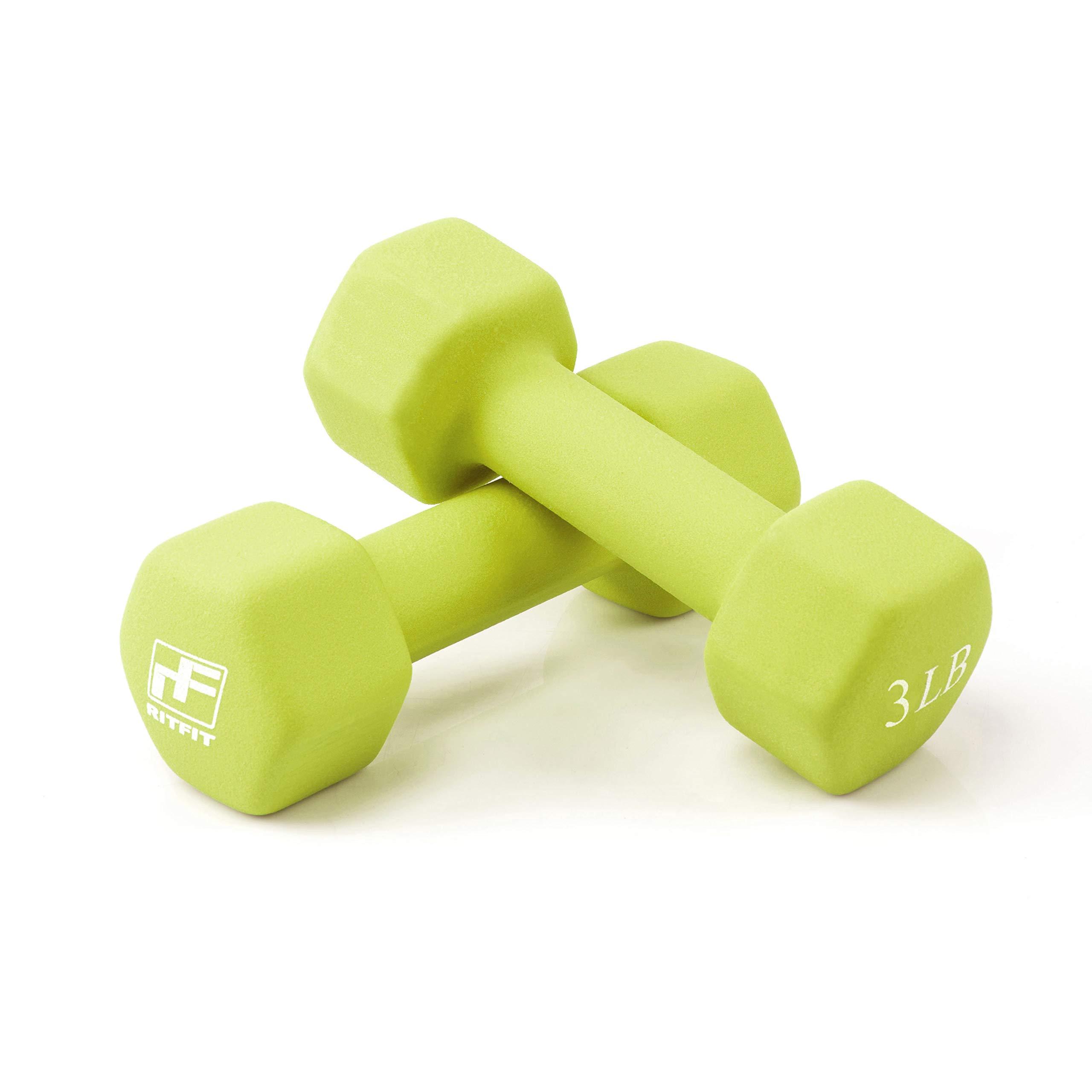 RitFit Set of Two Neoprene Dumbbells Coated for Non-Slip Grip, 1 lb-15 lb (3 Pound(Lemon Green))