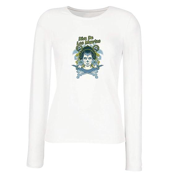 lepni.me Camisetas de Manga Larga para Mujer Día de los Muertos (Small Blanco