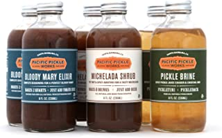 product image for Mixed Case of Savory Cocktail Mixers (8oz 6-pack) - Bloody Mary Elixir, Michelada Shrub and Pickle Brine