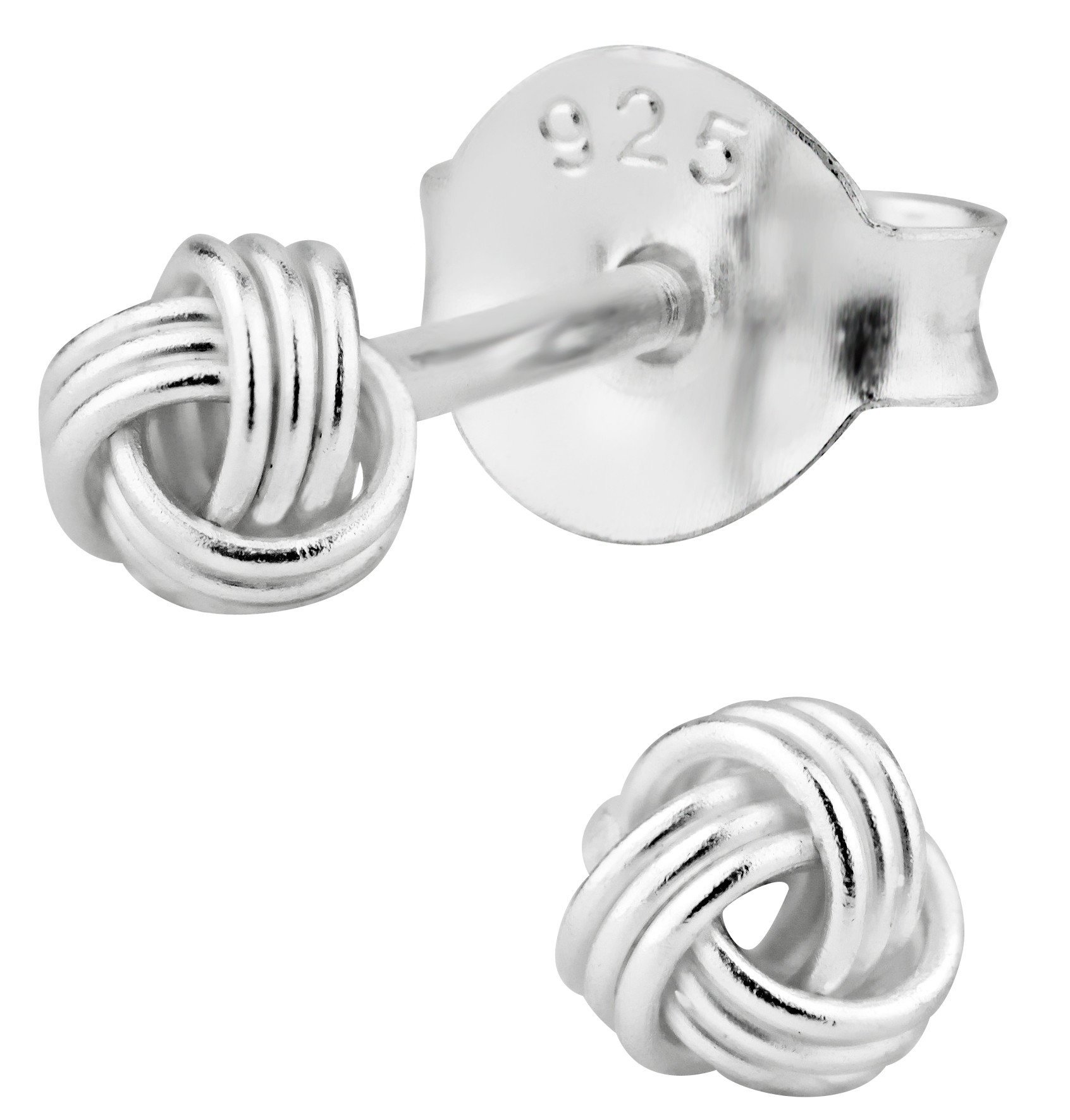 Hypoallergenic Sterling Silver Small Love Knot Stud Earrings for Kids (Nickel Free) by Penny & Piper (Image #1)