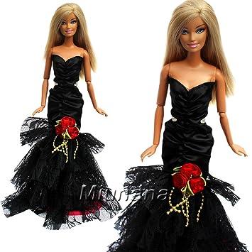 35ebef40f Amazon.es  Miunana 1 Vestido de noche Ropa Elegante Vestir Fiesta Regalo  como para Muñeca Barbie Doll - Negro  Juguetes y juegos