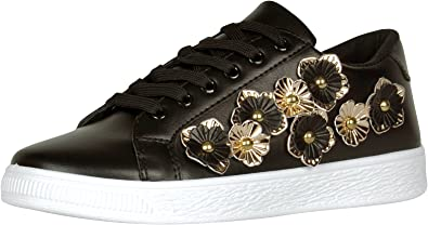 Cambridge Select Womens Closed Round Toe Lace-up 3D Flower Low Top Flatform Fashion Sneaker