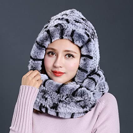 f8e24acfee14c Amazon.com  WEEKEND SHOP Hat Women 2017 New Knitted Real Rex Rabbit Fur Hat  Hooded Scarf Winter Warm Natural Fur Hat with Neck Scarves as Show  Home    ...