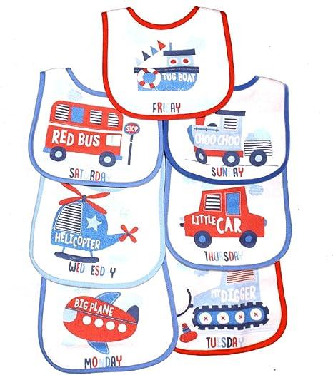 DAYS OF THE WEEK BIBS PACK OF 7 WATERPROOF BACK BABY BIBS 7 PACK