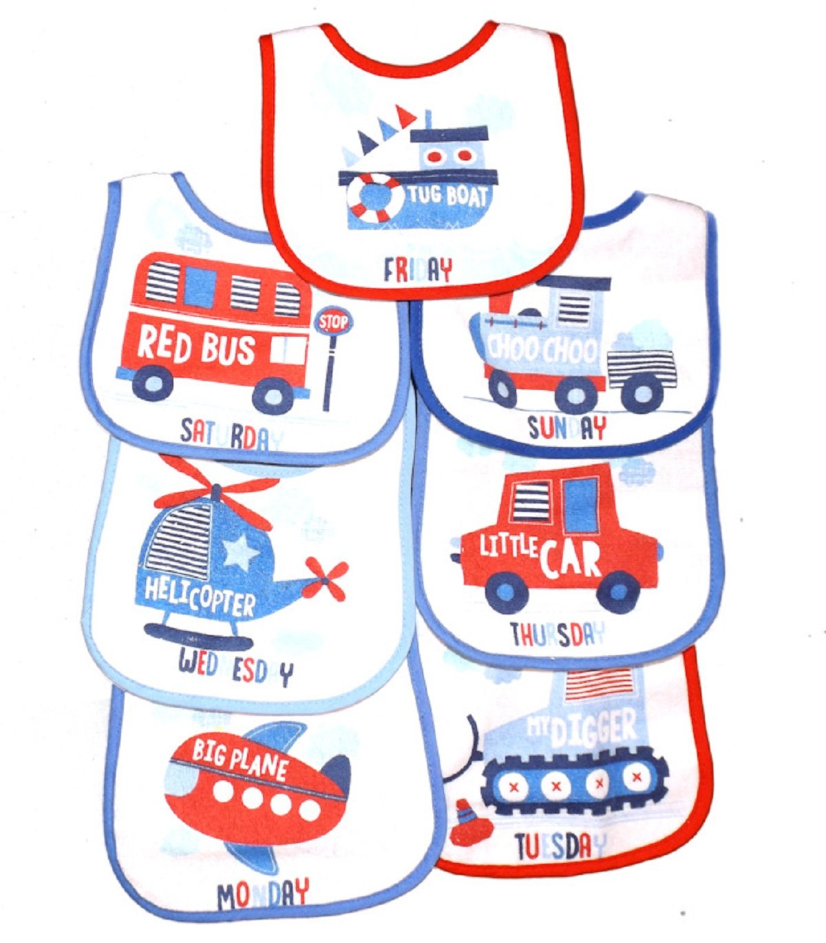 7 pack BABY BIBS Boys Girls Terry Waterproof back Tractor Truck Police Car Vehicles Rock-A-Bye Baby Various