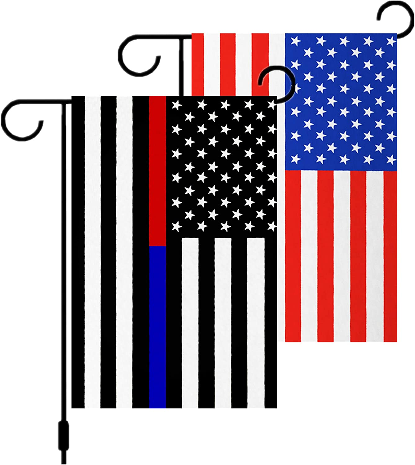 """Both Double Sided Stitching Thin Blue Line and Red Line Garden Flag &USA Flag Garden Flag,American Honoring Law Enforcement Officers and Firefighter Flags 12""""x 18"""", Decor for Outdoor Patio Lawn"""