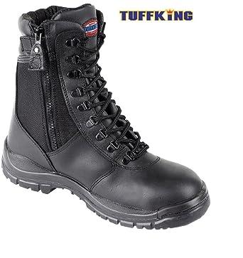 Negro con cremallera botas de seguridad en el trabajo punta de acero Pierna 9108 Tuffking Boot