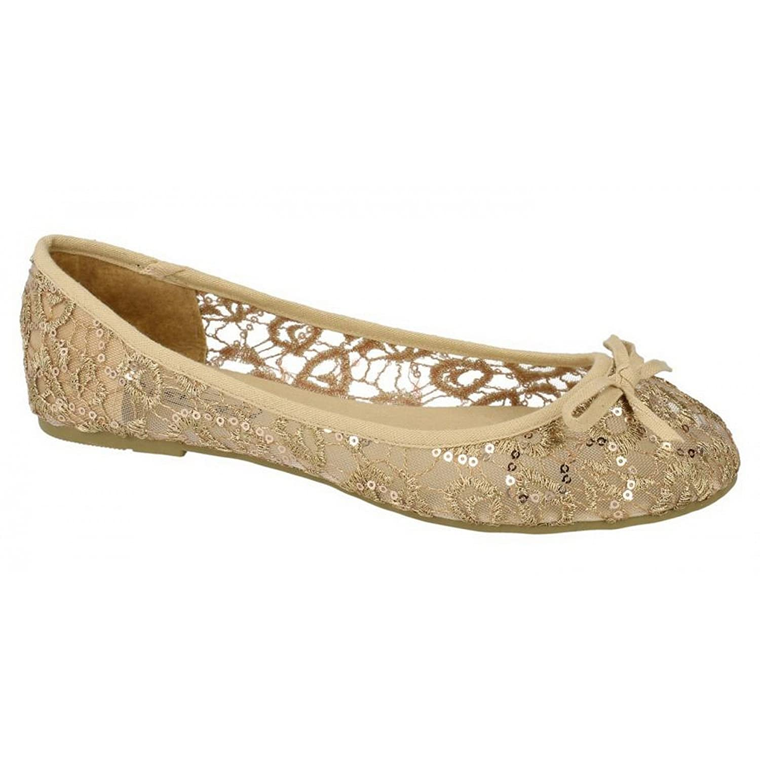 Ladies Spot On Ballerina Style Shoe / Lace Detail: Amazon.co.uk: Shoes &  Bags