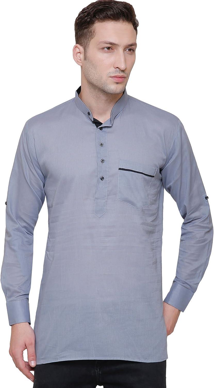 MapleClothing Ropa india de moda para hombre, corto, de algodón, vestido indio