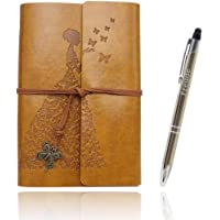 Writing Journals Notebook, A6(7×5inch) Refillable Leather Travel Diary, Best Gift for Women Teens Girls (Golden, Lined…
