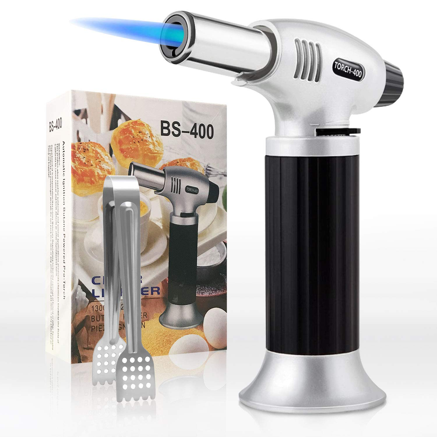 Axmda Cooking Torch, Kitchen Butane Torch, Culinary Torch Refillable, Blow Torch Lighter with Adjustable Flame and Safety Lock, Creme Brulee Torch for BBQ, Baking, DIY, Soldering (Gas Not Included)
