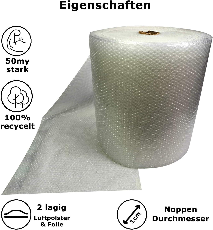 zus/ätzliche Festigkeit und Haltbarkeit ideal f/ür die Polsterung aller Produkte. Luftpolsterfolie dreilagige Kunststoffrolle 50 cm breit x 100 m