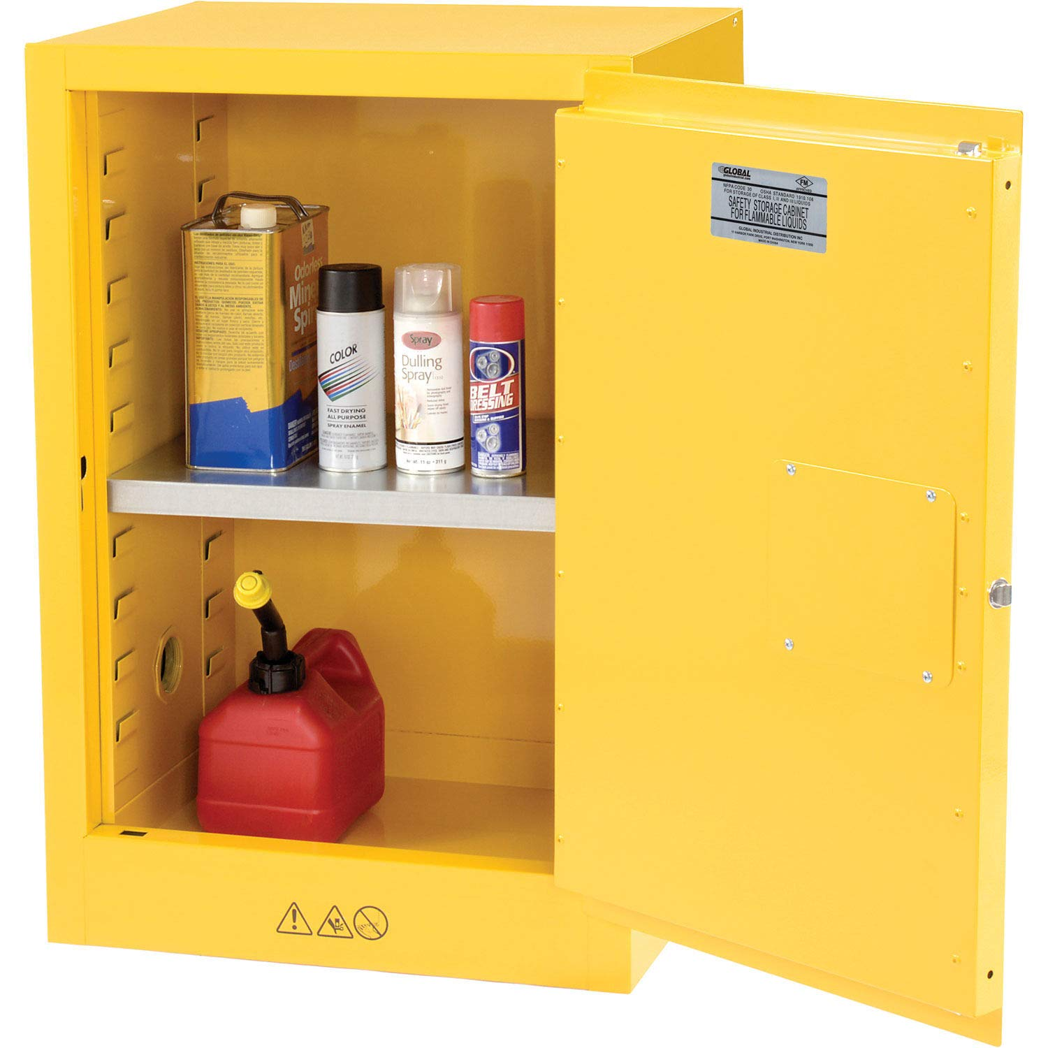 Yellow Compact Flammable Storage Cabinet 12 Gallon Capacity