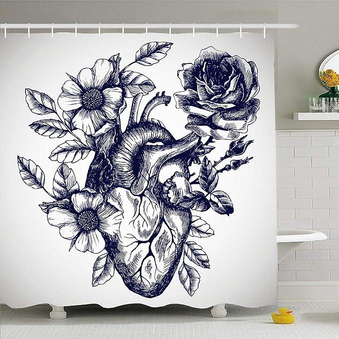 Ahawoso - Cortina de Ducha para baño, 72 x 78 cm, diseño de pájaro ...