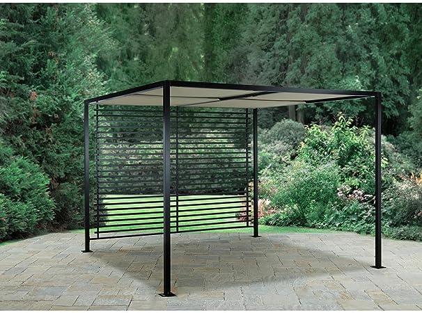 Hampton Bay Sicilia - Pérgola con Techo y Panel Trasero de Listones (2, 7 x 2, 7 m): Amazon.es: Jardín